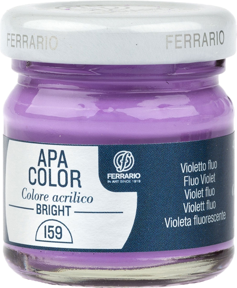 Ferrario Краска акриловая Apa Color цвет фиолетовый флуоресцентныйBA0040С0159Флуоресцентная акриловая краска Apa Color итальянской компании Ferrario на водной основе, готова к использованию. Основные качества акриловой краски Apa Color: прочность, светостойкость и экологичность. Благодаря акриловой смоле Apa Color пластична и не дает трещин. Именно поэтому краска прекрасно ложится на любые поверхности, будь то стекло, дерево или ткань, что особенно хорошо в дизайне и декоре. Она быстро сохнет, после высыхания становится водостойкой. Акриловая краска Apa Color не потускнеет со временем, ее светостойкость не позволит измениться цвету, он не выгорит на солнце и не пожелтеет. Акриловая краска Apa Color – это отличный выбор в пользу яркой живописи, так как в ее палитре только глубокие и насыщенные цвета. Из-за того, что акриловая краска Apa Color на водной основе, она почти совсем не пахнет, малотоксична – подходит для работы в помещениях, можно заниматься творчеством вместе с детьми. Акриловая краска Apa Color разводится водой, однако это не значит, что для нее нельзя использовать специальные растворители и медиумы, предназначенные для акриловых красок – в этом случае сохраняется высокая пигментированность, но объем краски увеличивается и появляется возможность создания различных фактур и эффектов. Акриловую краску Apa Color легко наносить кистью, шпателем, валиком.