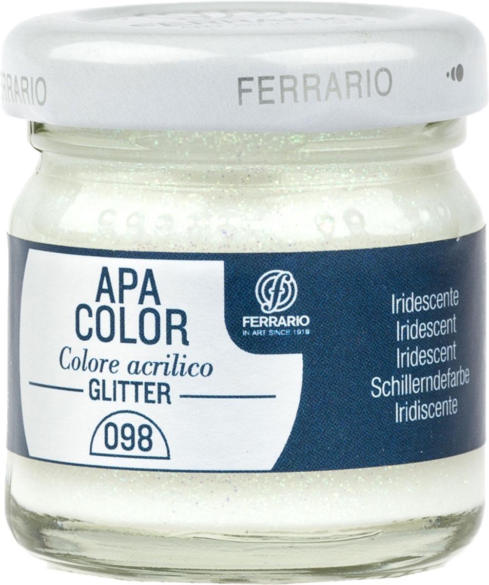 Ferrario Краска акриловая Apa Color цвет хамелеон перламутровый с глиттерамиBA0040В0098Акриловая краска Apa Color с глиттерами итальянской компании Ferrario на водной основе, готова к использованию. Основные качества акриловой краски Apa Color: прочность, светостойкость и экологичность. Благодаря акриловой смоле Apa Color пластична и не дает трещин. Именно поэтому краска прекрасно ложится на любые поверхности, будь то стекло, дерево или ткань, что особенно хорошо в дизайне и декоре. Она быстро сохнет, после высыхания становится водостойкой. Акриловая краска Apa Color не потускнеет со временем, ее светостойкость не позволит измениться цвету, он не выгорит на солнце и не пожелтеет. Акриловая краска Apa Color – это отличный выбор в пользу яркой живописи, так как в ее палитре только глубокие и насыщенные цвета. Из-за того, что акриловая краска Apa Color на водной основе, она почти совсем не пахнет, малотоксична – подходит для работы в помещениях, можно заниматься творчеством вместе с детьми. Акриловая краска Apa Color разводится водой, однако это не значит, что для нее нельзя использовать специальные растворители и медиумы, предназначенные для акриловых красок – в этом случае сохраняется высокая пигментированность, но объем краски увеличивается и появляется возможность создания различных фактур и эффектов. Акриловую краску Apa Color легко наносить кистью, шпателем, валиком.