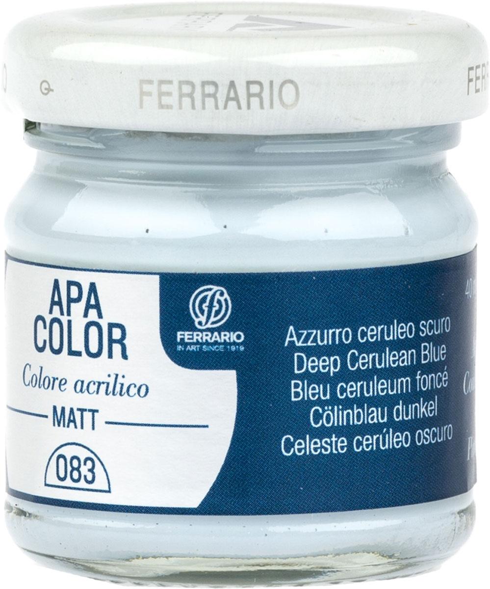 Ferrario Краска акриловая Apa Color цвет цирулеум темныйBA0040А0083Матовая акриловая краска Apa Color итальянской компании Ferrario на водной основе, готова к использованию. Основные качества акриловой краски Apa Color: прочность, светостойкость и экологичность. Благодаря акриловой смоле Apa Color пластична и не дает трещин. Именно поэтому краска прекрасно ложится на любые поверхности, будь то стекло, дерево или ткань, что особенно хорошо в дизайне и декоре. Она быстро сохнет, после высыхания становится водостойкой. Акриловая краска Apa Color не потускнеет со временем, ее светостойкость не позволит измениться цвету, он не выгорит на солнце и не пожелтеет. Акриловая краска Apa Color – это отличный выбор в пользу яркой живописи, так как в ее палитре только глубокие и насыщенные цвета. Из-за того, что акриловая краска Apa Color на водной основе, она почти совсем не пахнет, малотоксична – подходит для работы в помещениях, можно заниматься творчеством вместе с детьми. Акриловая краска Apa Color разводится водой, однако это не значит, что для нее нельзя использовать специальные растворители и медиумы, предназначенные для акриловых красок – в этом случае сохраняется высокая пигментированность, но объем краски увеличивается и появляется возможность создания различных фактур и эффектов. Акриловую краску Apa Color легко наносить кистью, шпателем, валиком.