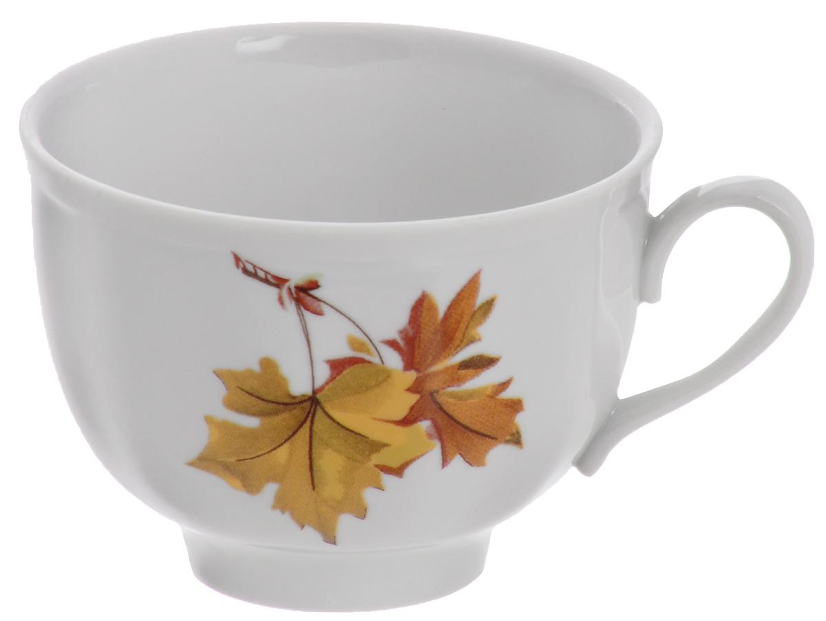 Чашка чайная Дулевский Фарфор Гранатовый. Клен , 275 мл052772Чашка Дулевский Фарфор выполнена из высококачественного фарфора. Посуда из такого материала позволяет сохранить истинный вкус напитка, а также помогает ему дольше оставаться теплым.