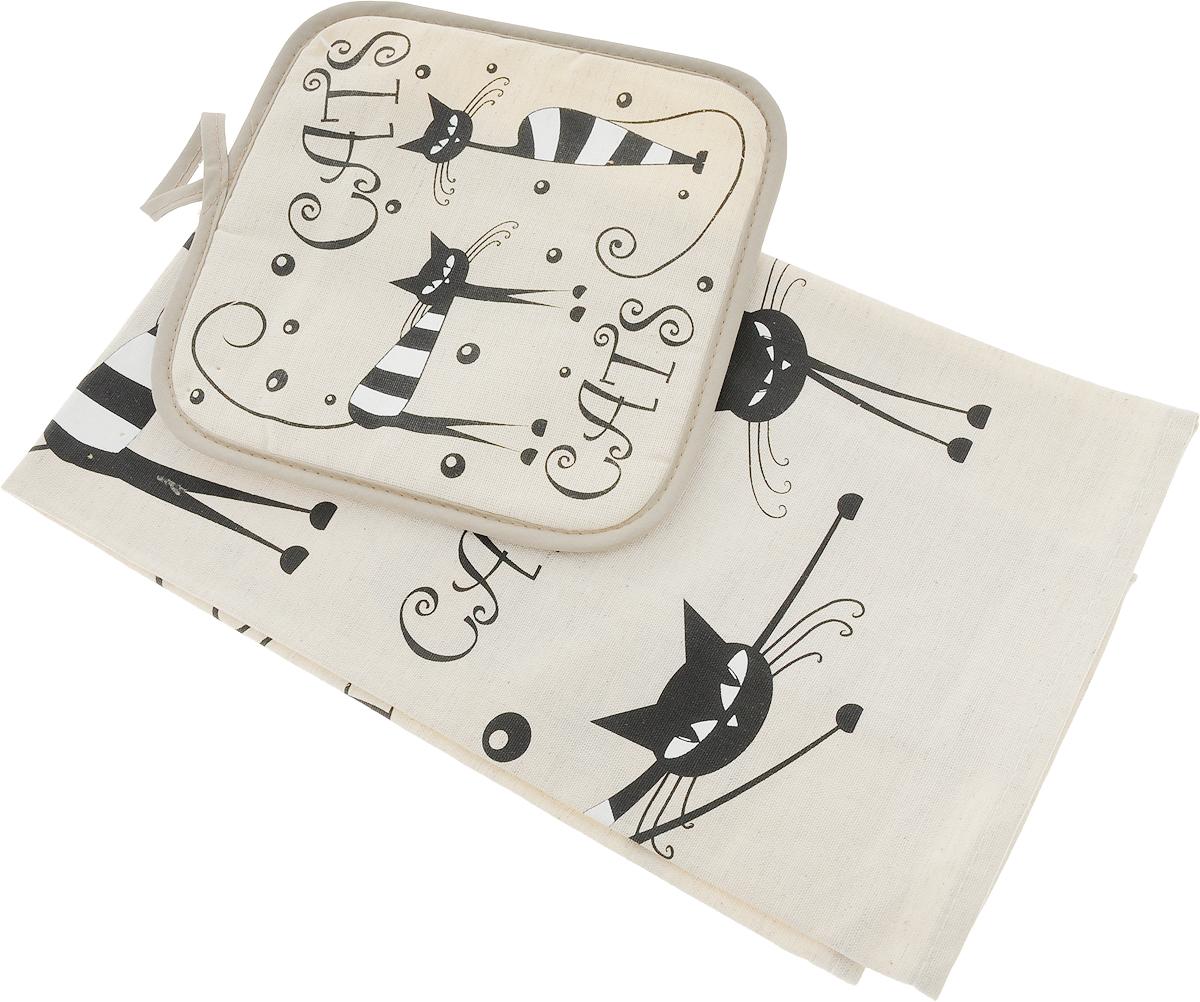 Набор кухонный LarangE От Шефа. Черные кошки, 2 предметаНК-71Кухонный набор От Шефа, выполненный из 50% хлопка и 50% льна, состоит из прихватки и прямоугольного полотенца. Полотенце прекрасно впитывает влагу, легко стирается, хорошо сохраняет форму и цвет. Прихватка удобная, мягкая и практичная. Она защитит ваши руки и предотвратит появление ожогов. С помощью текстильной петельки прихватку можно подвесить на крючок.Кухонный набор станет незаменимым помощником на вашей кухне. Яркий и оригинальный дизайн вдохновит вас на новые кулинарные шедевры. Размер полотенца: 45 х 60 см. Размер прихватки: 18 х 18 см.