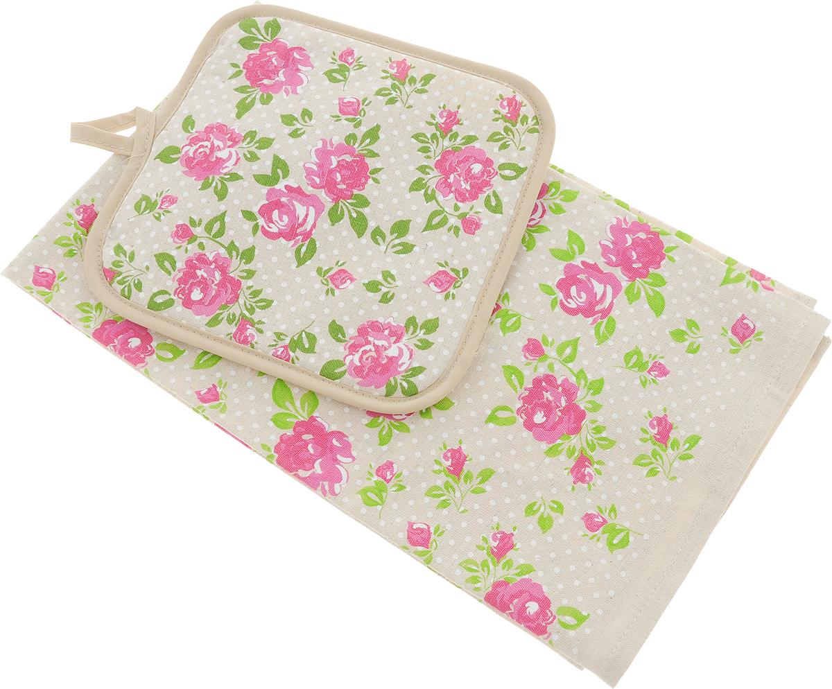 Набор кухонный LarangE От Шефа. Розы, 2 предметаНК-71Кухонный набор От Шефа, выполненный из 50% хлопка и 50% льна, состоит из прихватки и прямоугольного полотенца. Полотенце прекрасно впитывает влагу, легко стирается, хорошо сохраняет форму и цвет. Прихватка удобная, мягкая и практичная. Она защитит ваши руки и предотвратит появление ожогов. С помощью текстильной петельки прихватку можно подвесить на крючок.Кухонный набор станет незаменимым помощником на вашей кухне. Яркий и оригинальный дизайн вдохновит вас на новые кулинарные шедевры. Размер полотенца: 45 х 60 см. Размер прихватки: 18 х 18 см.