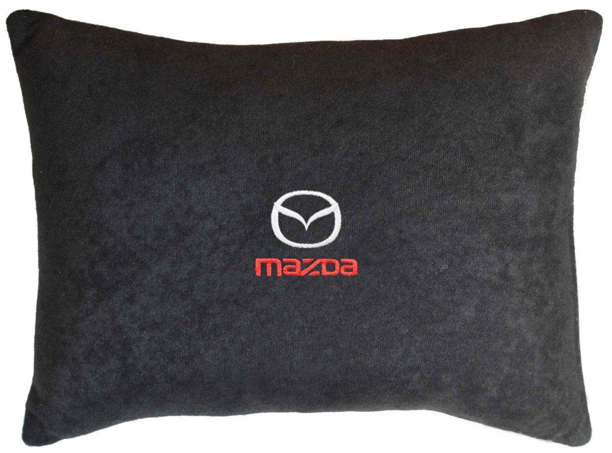 Подушка декоративная Auto Premium Mazda, цвет: черный, 26 х 36 см37622Декоративная подушка в машину Auto Premium с вышивкой - отличное дополнение для салона вашего авто. Мягкая подушка, изготовленная из велюра, будет удобна пассажиру. К тому же не перестанет радовать вас своим видом. Оптимальный размер подушки (26 х 36 см) не загромождает салон автомобиля.