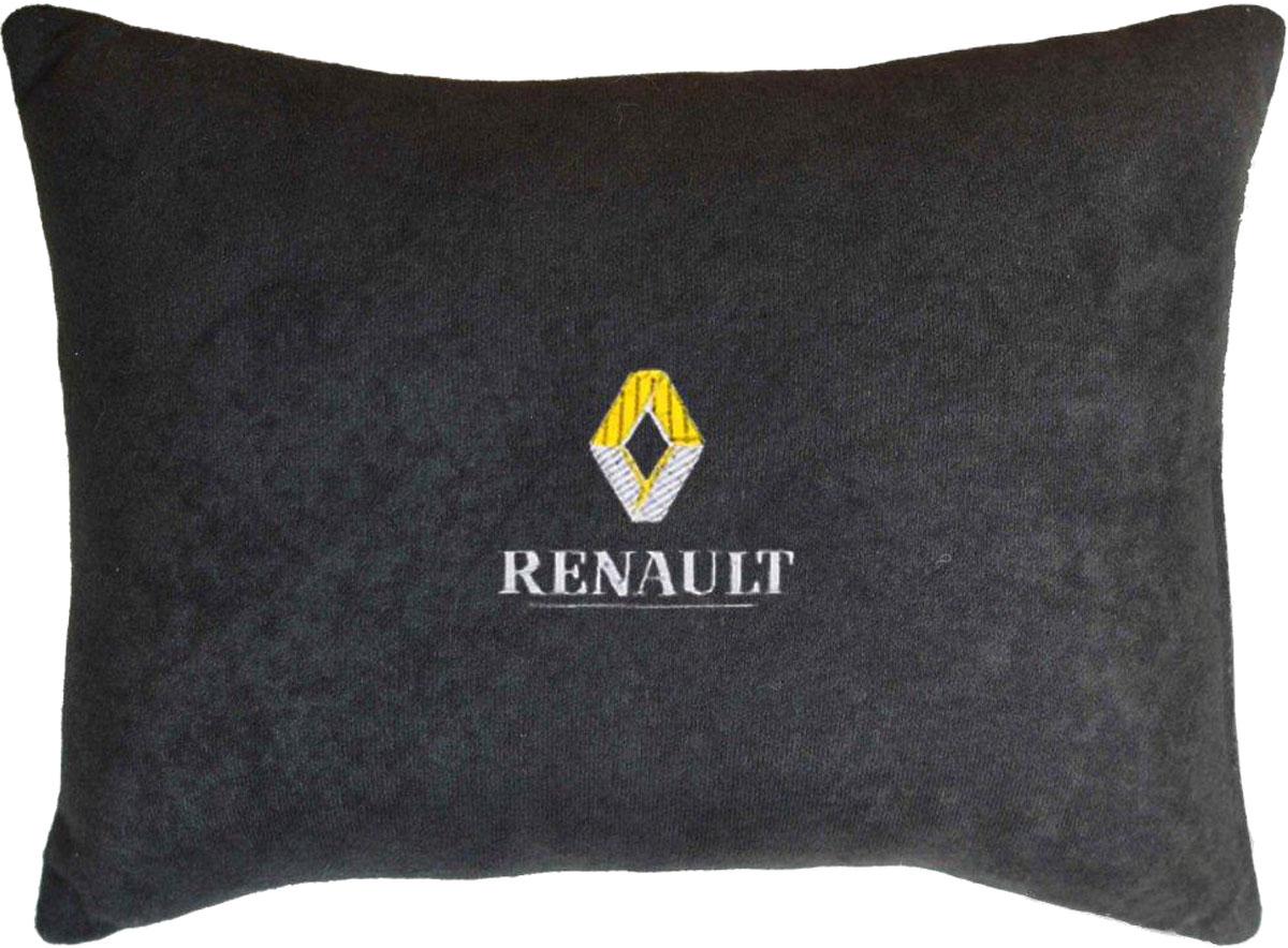 Подушка декоративная Auto Premium Renault, цвет: черный, 26 х 36 см37630Подушка в машину с вышивкой - отличное дополнение для салона Вашего авто. Мягкая подушка, изготовленая из велюра, будет удобна пассажиру. К тому же не перестанет радовать Вас своим видом. Оптимальный размер подушки (26 х 36 см) не загромождает салон автомобиля.