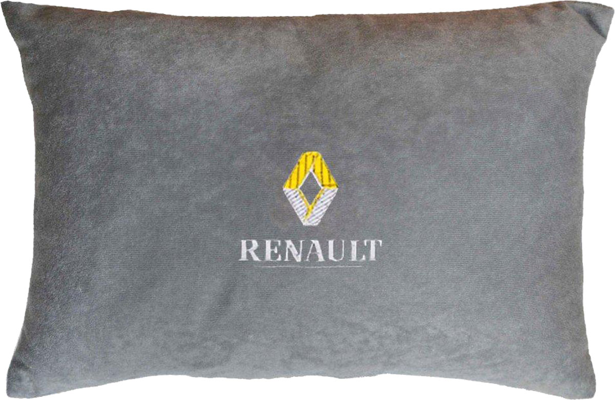 Подушка декоративная в салон автомобиля Autopremium Renault, цвет: серый37650Подушка в салон автомобиля с индивидуальной вышивкой - отличное дополнение для вашего авто. Мягкая подушка, изготовленная из велюра, будет удобна пассажиру. К тому же не перестанет радовать вас своим видом. Оптимальный размер подушки (26 х 36 см) не загромождает салон автомобиля. Особенности подушки:- Хорошо проветривается. - Предупреждает потение. - Поддерживает комфортную температуру. - Обминается по форме тела. - Улучшает кровообращение. - Исключает затечные явления.