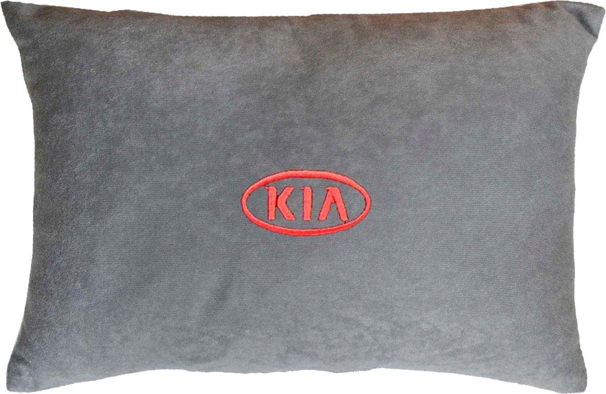 Подушка декоративная в салон автомобиля Autopremium Kia, цвет: серый37651Подушка в салон автомобиля с индивидуальной вышивкой - отличное дополнение для вашего авто. Мягкая подушка, изготовленная из велюра, будет удобна пассажиру. К тому же не перестанет радовать вас своим видом. Оптимальный размер подушки (26 х 36 см) не загромождает салон автомобиля. Особенности подушки:- Хорошо проветривается. - Предупреждает потение. - Поддерживает комфортную температуру. - Обминается по форме тела. - Улучшает кровообращение. - Исключает затечные явления.