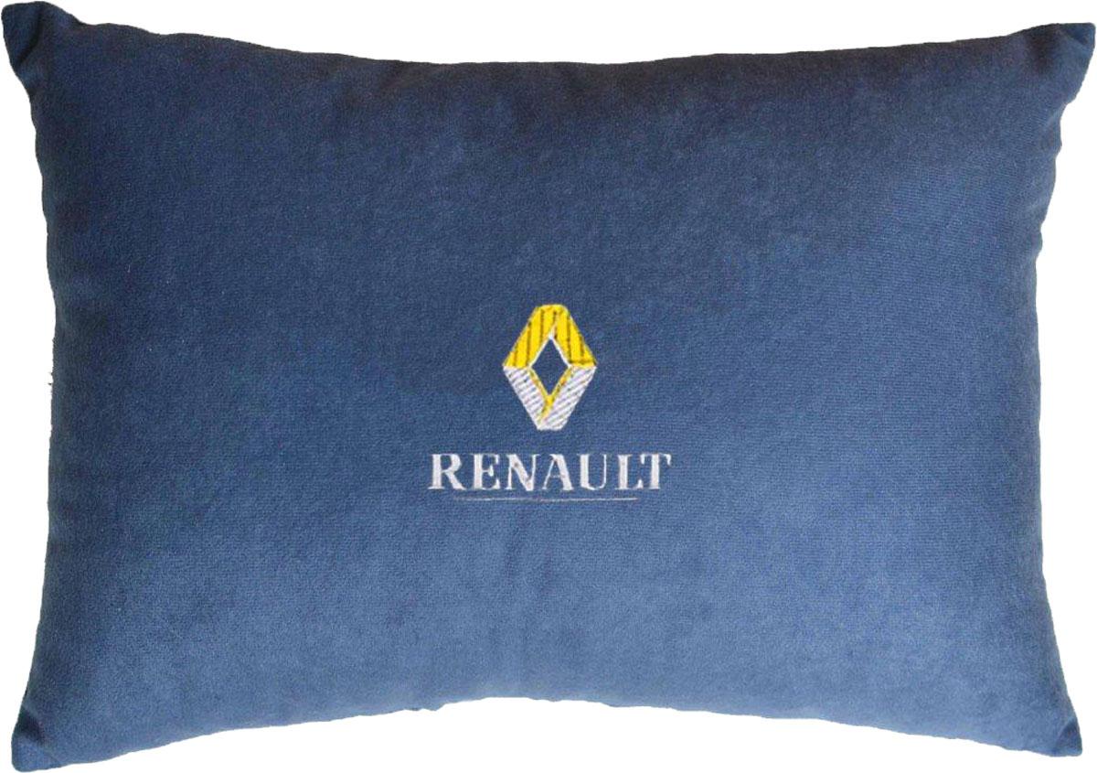 Подушка декоративная в салон автомобиля Autopremium Renault, цвет: синий37690Подушка в салон автомобиля с индивидуальной вышивкой - отличное дополнение для вашего авто. Мягкая подушка, изготовленная из велюра, будет удобна пассажиру. К тому же не перестанет радовать вас своим видом. Оптимальный размер подушки (26 х 36 см) не загромождает салон автомобиля. Особенности подушки:- Хорошо проветривается. - Предупреждает потение. - Поддерживает комфортную температуру. - Обминается по форме тела. - Улучшает кровообращение. - Исключает затечные явления.