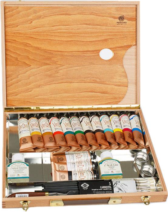 Ferrario Набор масляных красок Van Dyck 15 цветов по 60 млAV0126COНабор масляных красок серии VAN DYCK в коробке из бука итальянской компании Ferrario. Краски изготавливаются из натуральных мелко тертых пигментов с добавлением качественного связующего материала. Благодаря этому масляные краски VAN DYCK обладают превосходной светостойкостью, чистотой цветов и оттенков. Краски можно разбавлять льняным маслом, терпентином или нефтяными разбавителями. Все цвета хорошо смешиваются между собой. В серии масляных красок VAN DYCK представлено 87 различных оттенков, а также 6 металлических оттенков. Дополнительные характеристики:– В наборе 15 туб по 60 мл;– 1 палитра;– 1 разбавитель для красок;– 1 растворитель;– 1 уголь;– 1 масленка;– 3 кисти;– 1 мастихин;– Размер: 300х400мм;
