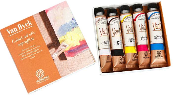 Ferrario Набор масляных красок Van Dyck 5 цветов по20 млAVD001COНабор масляных красок серии VAN DYCK в деревянном кейсе итальянской компании Ferrario. Краски изготавливаются из натуральных мелко тертых пигментов с добавлением качественного связующего материала. Благодаря этому масляные краски VAN DYCK обладают превосходной светостойкостью, чистотой цветов и оттенков. Краски можно разбавлять льняным маслом, терпентином или нефтяными разбавителями. Все цвета хорошо смешиваются между собой. В серии масляных красок VAN DYCK представлено 87 различных оттенков, а также 6 металлических оттенков.Дополнительные характеристики: – В наборе 5 туб по 20 мл;