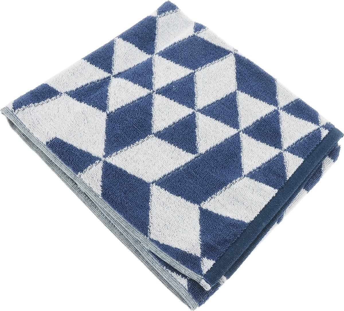 Полотенце Aquarelle Орион 3, цвет: белый, темно-синий, 50 х 90 см полотенце махровое aquarelle таллин 1 цвет ваниль 50 х 90 см 707762