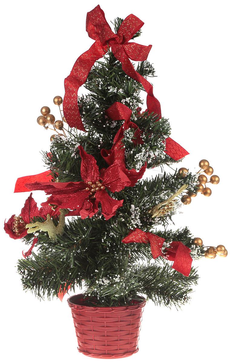 Ель искусственная Sima-Land, настольная, высота 50 см. 706037706037Елка Sima-Land с красным декором и снегом – отличается очаровательным дизайном: блестящие банты, веточки, присыпанные снежком, прекрасные алые цветы и золотистые фигурки оленей. Такую ель не нужно украшать – она уже нарядная.Создайте в своем доме новогоднюю сказку! Новый год – волшебный праздник. Повсюду мы видим сверкающую мишуру, светящиеся гирлянды и, конечно же, нарядные елочки.