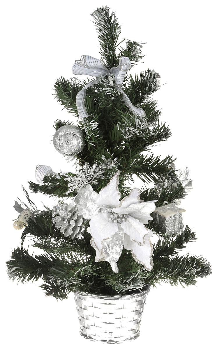 """Ель искусственная Sima-land """"Новогодняя елочка"""", настольная, цвет: серебристый, зеленый, высота 50 см. 706055"""