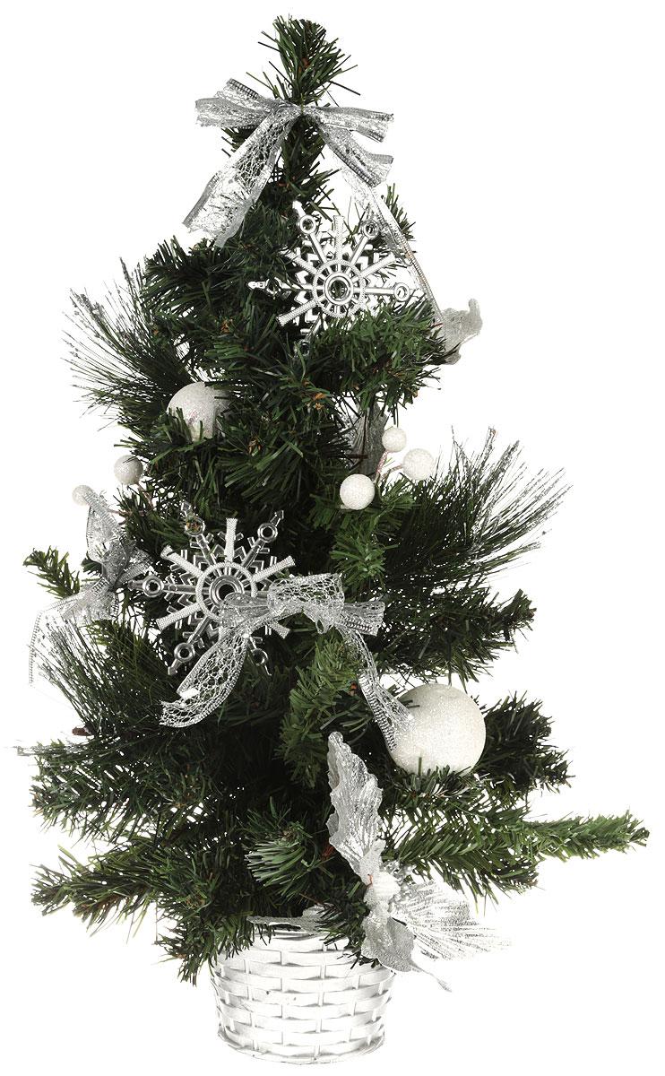 Ель искусственная Sima-land Новогодняя елочка, настольная, высота 50 см706047Искусственная ель Sima-land Новогодняя елочка, выполненная из пластика, станет идеальным украшением для новогоднего интерьера и создаст теплую и уютную атмосферу праздника. Ее не нужно ни собирать, ни наряжать, зато настроение праздника она создает очень быстро.Елка украшена текстильными бантами, цветами, шарами, блестками. Откройте для себя удивительный мир сказок и грез. Почувствуйте волшебные минуты ожидания праздника, создайте новогоднее настроение вашим дорогим и близким.