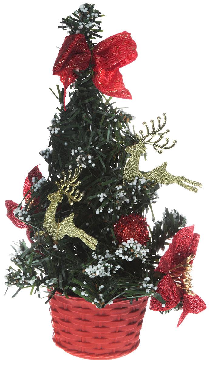 Ель искусственная, настольная, высота20 см706034Искусственная ель, выполненная из пластика, станет идеальным украшением для новогоднего интерьера и создаст теплую и уютную атмосферу праздника. Ее не нужно ни собирать, ни наряжать, зато настроение праздника она создает очень быстро.Елка украшена текстильными цветами и пластиковыми фигурками. Откройте для себя удивительный мир сказок и грез. Почувствуйте волшебные минуты ожидания праздника, создайте новогоднее настроение вашим дорогим и близким.
