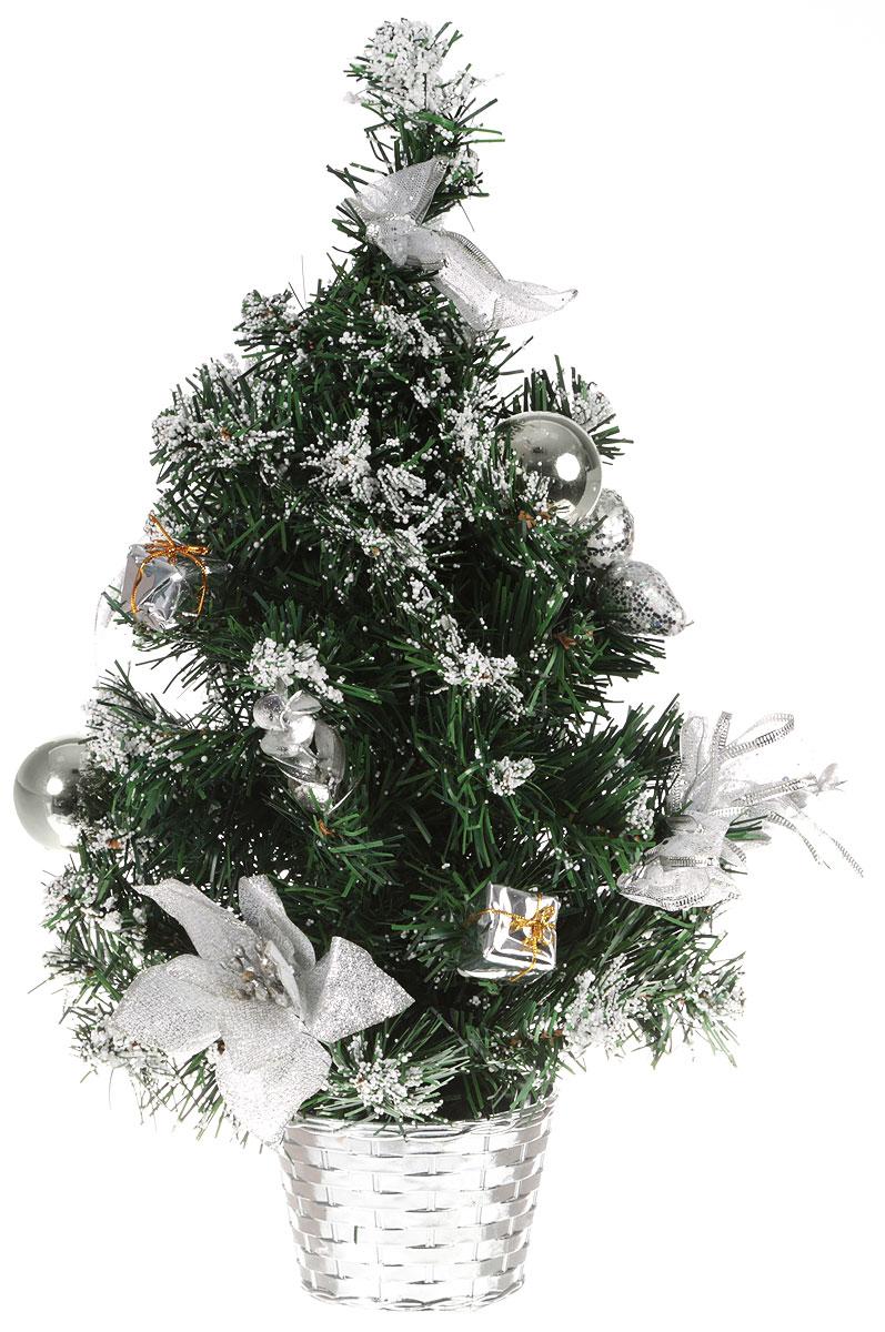Ель искусственная Sima-land Новогодняя елочка, настольная, высота 50 см. 819243819243Декоративное украшение Sima-land, выполненное из пластика - мини-елочка для оформления интерьера к Новому году. Ее не нужно ни собирать, ни наряжать, зато настроение праздника она создает очень быстро.Елка украшена текстильными бантами, шарами, цветами и белыми шариками в виде снега. Елка украсит интерьер вашего дома или офиса к Новому году и создаст теплую и уютную атмосферу праздника.Откройте для себя удивительный мир сказок и грез. Почувствуйте волшебные минуты ожидания праздника, создайте новогоднее настроение вашим дорогим и близким.