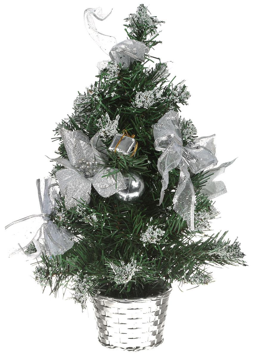 Ель искусственная Sima-land Новогодняя елочка, настольная, высота 40 см. 819242819242Искусственная ель Sima-land Новогодняя елочка, выполненная из ПВХ и пластика, станет идеальным украшением для новогоднего интерьера и создаст теплую и уютную атмосферу праздника. Ее не нужно ни собирать, ни наряжать, зато настроение праздника она создает очень быстро.Настольная елка украшена текстильными бантами, цветами, шарами и искусственными снегом. Откройте для себя удивительный мир сказок и грез. Почувствуйте волшебные минуты ожидания праздника, создайте новогоднее настроение вашим дорогим и близким.