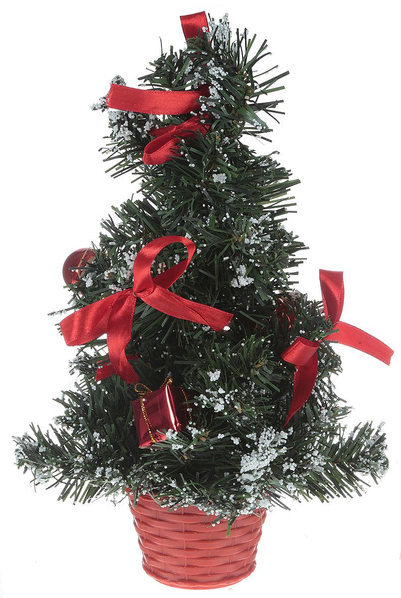 Ель искусственная Sima-land Новогодняя елочка, настольная, высота 26 см819249Искусственная ель Sima-land Новогодняя елочка, выполненная из пластика, станет идеальным украшением для новогоднего интерьера и создаст теплую и уютную атмосферу праздника. Ее не нужно ни собирать, ни наряжать, зато настроение праздника она создает очень быстро.Елка украшена текстильными бантами, декоративными подарками и снегом. Откройте для себя удивительный мир сказок и грез. Почувствуйте волшебные минуты ожидания праздника, создайте новогоднее настроение вашим дорогим и близким.