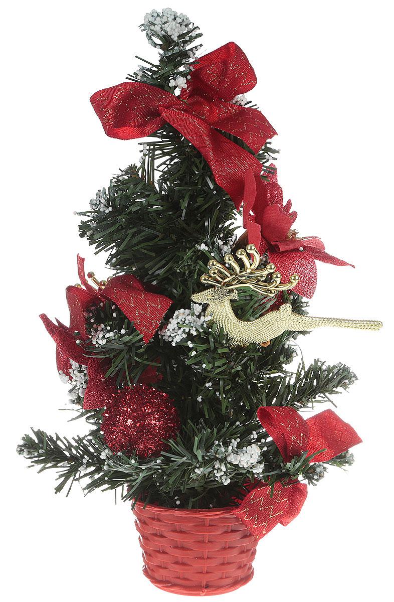 Ель искусственная, настольная, цвет: красный, 30 см. 706035706035Блестки, бантики и цветы создадут новогоднее настроение. Такую ель не нужно украшать – она уже нарядная. А благодаря аккуратному горшочку, в который помещена елочка, она станет прекрасным украшением любого интерьера.Для большего объема и пушистости, ветки на елке закреплены в хаотичном порядке. Ель украшена текстильными бантиками, декоративными украшениями и пенопластовой крошкой в виде снега. Новый год – любимый праздник многих. В преддверии этого чудесного времени преображается все вокруг – улицы, дома и даже люди, окружающие нас. Преобразите и вы свой дом. Отличной помощницей вам в этом станет елка с красным декором и снегом.