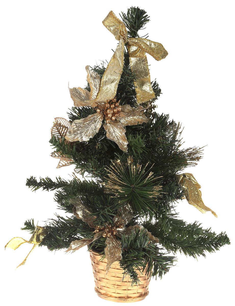 Ель искусственная Sima-land Новогодняя елочка, настольная, высота 40 см. 706040706040Искусственная ель Sima-land Новогодняя елочка, выполненная из ПВХ и пластика, станет идеальным украшением для новогоднего интерьера и создаст теплую и уютную атмосферу праздника. Ее не нужно ни собирать, ни наряжать, зато настроение праздника она создает очень быстро.Настольная елка украшена текстильными бантами, шарами, фигурками и блестками. Откройте для себя удивительный мир сказок и грез. Почувствуйте волшебные минуты ожидания праздника, создайте новогоднее настроение вашим дорогим и близким.