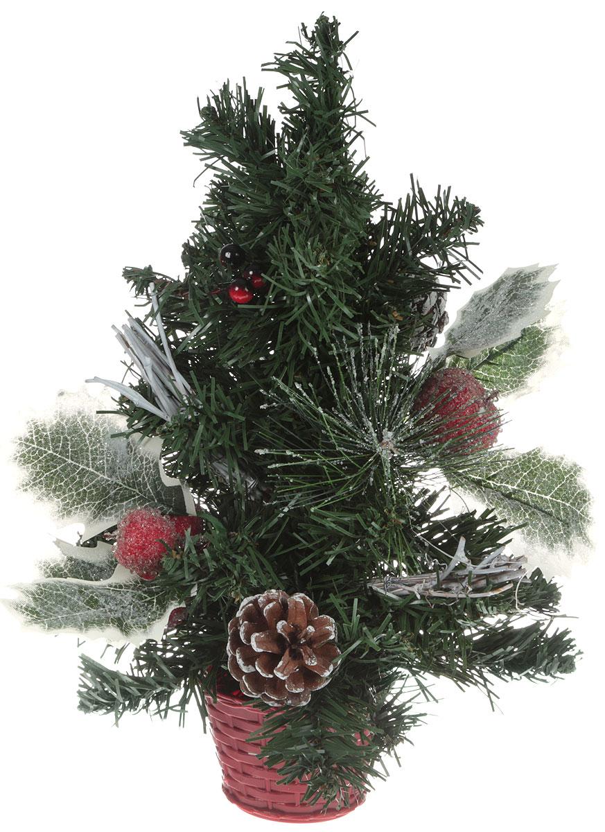 Ель искусственная Шишки и ягодки, настольная, цвет: зеленый, высота 30 см. 706048706048Пушистые веточки, шишки, припорошенные снежком, и веточки рождественской омелы создадут новогоднее настроение. Такую ель не нужно украшать – она уже нарядная. А благодаря аккуратному горшочку, в который помещена елочка, она станет прекрасным украшением любого интерьера.Для большего объема и пушистости, ветки на елке закреплены в хаотичном порядке. Ель украшена декоративными элементами в виде шишек, ягодок и листочков. Новый год – любимый праздник многих. В преддверии этого чудесного времени преображается все вокруг – улицы, дома и даже люди, окружающие нас. Преобразите и вы свой дом. Отличной помощницей вам в этом станет елка декорированная Шишки и ягодки.
