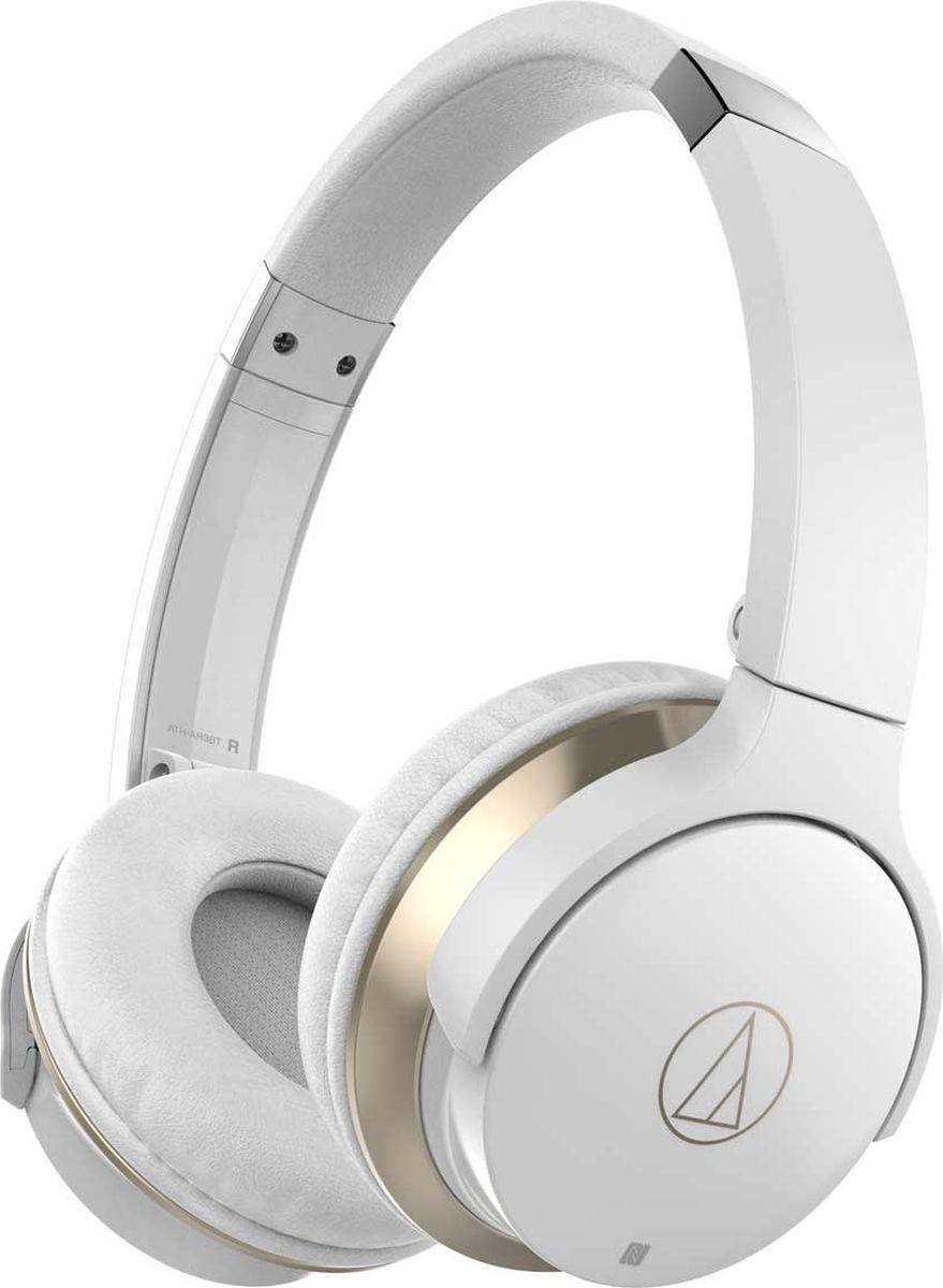 Audio-Technica ATH-AR3BT, White наушники15119209Наушники Audio-Technica ATH-AR3BT изготовлены с применением высококачественных материалов и обладают великолепной посадкой. Модель обладает превосходным звучанием и отличной эргономикой.Благодаря 40-мм излучателям, наушники обладают превосходным звучанием на всем частотном диапазоне с характерными для серии чистыми высокими, яркими средними частотами и богатым басом.Двигаясь в ногу со временем, мы оснастили данную модель беспроводными технологиями Bluetooth и NFC, для максимально быстрого и удобного соединения с совместимыми портативными устройствами. Поддержка кодеков aptX, AAC и SBC - неотъемлемая составляющая современного беспроводного звучания - позволит насладиться вам полноценным качеством, достойным самого искушенного слушателя.Встроенный литий-полимерный аккумулятор подарит до 30 часов непрерывного звучания, а наличие разъема для подключения кабеля,позволит не прерывать прослушивание даже после полной разрядки батареи.Наушники ATH-AR3BT являются полноценной гарнитурой, что дает возможность не только управлять воспроизведением треков и регулировкой громкости, но и отвечать на входящие звонки. В комплект поставки включены два кабеля: для проводного подключения и для зарядки аккумулятора.