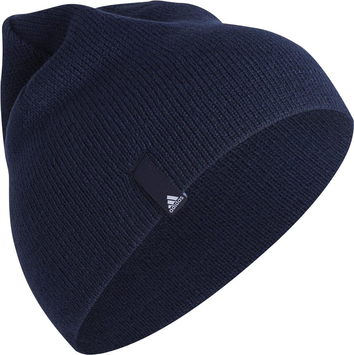 Шапка Adidas Perf Beanie, цвет: темно-синий. AB0357. Размер 58/60AB0357В этой шапке ты сможешь полностью сосредоточиться на тренировке, не отвлекаясь на холод. Вязаная модель с тканой нашивкой у края.Классическая шапка-биниТканая нашивка