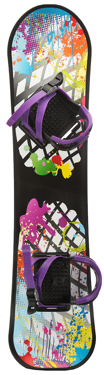 Сноуборд детский  Цикл , с креплениями, цвет: фиолетовый, мультиколор - Санки и снегокаты