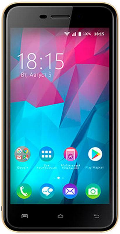 BQ 5000L Trend, Gold85953797BQ представляет новый смартфон BQ 5000L Trend.Одно из главных преимуществ смартфона это яркий 5-дюмовый IPS экран. Вы сможете просматривать видео, в формате высокой четкости наслаждаясь улучшенными углами обзора благодаря применению технологии 2.5D. За эффективное использование всех ресурсов устройства отвечает новейшая ОС Android 7.0.Производительный четырехъядерный процессор и 1 ГБ оперативной памяти позволяет играть в новейшие игры и использовать все современные приложения без зависаний. Девайс поддерживает инновационную технологию VoLTE которая значительно улучшает связь в режиме разговора. 8 Гб встроенной памяти можно увеличить до 32 ГБ используя MicroSD.За качественные снимки отвечают две камеры. Основная с разрешением 8 Мпикс и фронтальная оптика с разрешением 5 Мпикс. Владельцам модели будет доступен высокоскоростной интернет 4G/LTE.Смартфон сертифицирован EAC и имеет русифицированный интерфейс меню и Руководство пользователя.