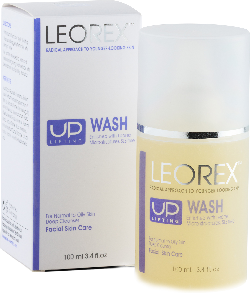 Leorex Up-Lifting Wash Очищающий гель для лица с эффектом лифтинга, 100 мл7290011784188LEOREX Up-Lifting Wash является великолепным очищающим средство для кожи лица, эффективно борется с морщинами, осуществляет дренаж тканей лица, снимает отёки, повышает устойчивость к стрессовым воздействиям, обладает противовоспалительным действием. Данный продукт относится к нано косметическим средствам, и помимо очищающих свойств, борется с дерматологическими проблемами, способствует быстрому заживлению микротравм. Высокое содержание микрочастиц нанокремнезема позволяет не просто очистить верхний слой эпидермиса, но и абсорбировать омертвевшие клетки, вместе с продуктами метаболизма, что способствует глубокому очищению пор и выводу токсинов. Кремнезем, или диоксид кремния, является отличным сорбентом, имеет выраженное антимикробное действие. Гель является также тонизирующим для лица, выполняет лёгкий, деликатный пилинг с гидробалансирующим эффектом, заметно уменьшается количество пигментных пятен, нормализуются секреторные функции сальных желёз, убираются отёки.