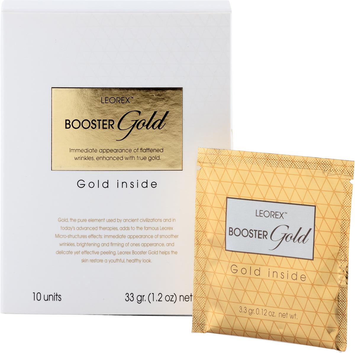 Leorex Booster Gold Inside Маска для лица и век с золотом, 3,3 мл х 10 шт7290011784379Маска LEOREX Booster Gold, содержащая в своём составе коллоидное золото, восстанавливает глубокие слои эпидермиса за счёт стимулирования обменных процессов в глубоких слоях кожи. Притягивая и удерживая молекулы воды, этот драгоценный компонент оказывает мощное увлажняющее действие, восстанавливает эластичность и упругость кожи, помогает смоделировать контуры лица. Состав: диоксид кремния, экстракт виноградных косточек, стабилизированный экстракт алоэ вера, витамины А, Е, коллоид золота, гидролизированный протеин пшеницы, масло шиповника, масло семян бурачника. При регулярном применении тон кожи выравнивается, пигментные пятна становятся значительно менее выраженными, создаётся эффект лифтинга, кислотность нормализуется, исчезает жирный блеск, нейтрализуется воздействие на дерму вредных привычек, ультрафиолета и неблагоприятных условий окружающей среды. Золото инертно, поэтому маска гипоаллергенна, подходит даже для чувствительной кожи, легко смывается.