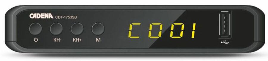 Cadena CDT-1753SB, Black цифровой ТВ ресивер046/91/00048272Приемник предназначен для просмотра бесплатного цифрового эфирного телевидения высокого качества. Высокочувствительный тюнер обеспечивает стабильное качество принимаемого сигнала. При подключении внешнего USB устройства можно записывать транслируемые телевизионные каналы, а так же воспроизводить мультимедийные файлы и изображения на телевизор. Приемник имеет HDMI выход, при помощи которого можно выводить на телевизор изображение в формате высокой четкости HD 1080p, также выполнить подключение к телевизору можно и при помощи аналогового RCA выхода. Поддержка субтитров, телетекста, электронной программы передач (EPG).