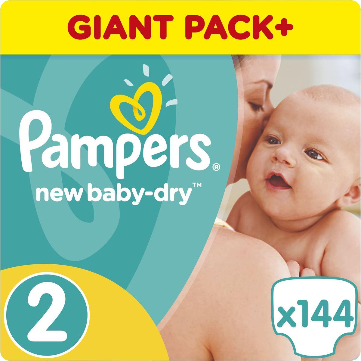 Pampers Подгузники New Baby-Dry 3-6 кг (размер 2) 144 шт - Подгузники и пеленки