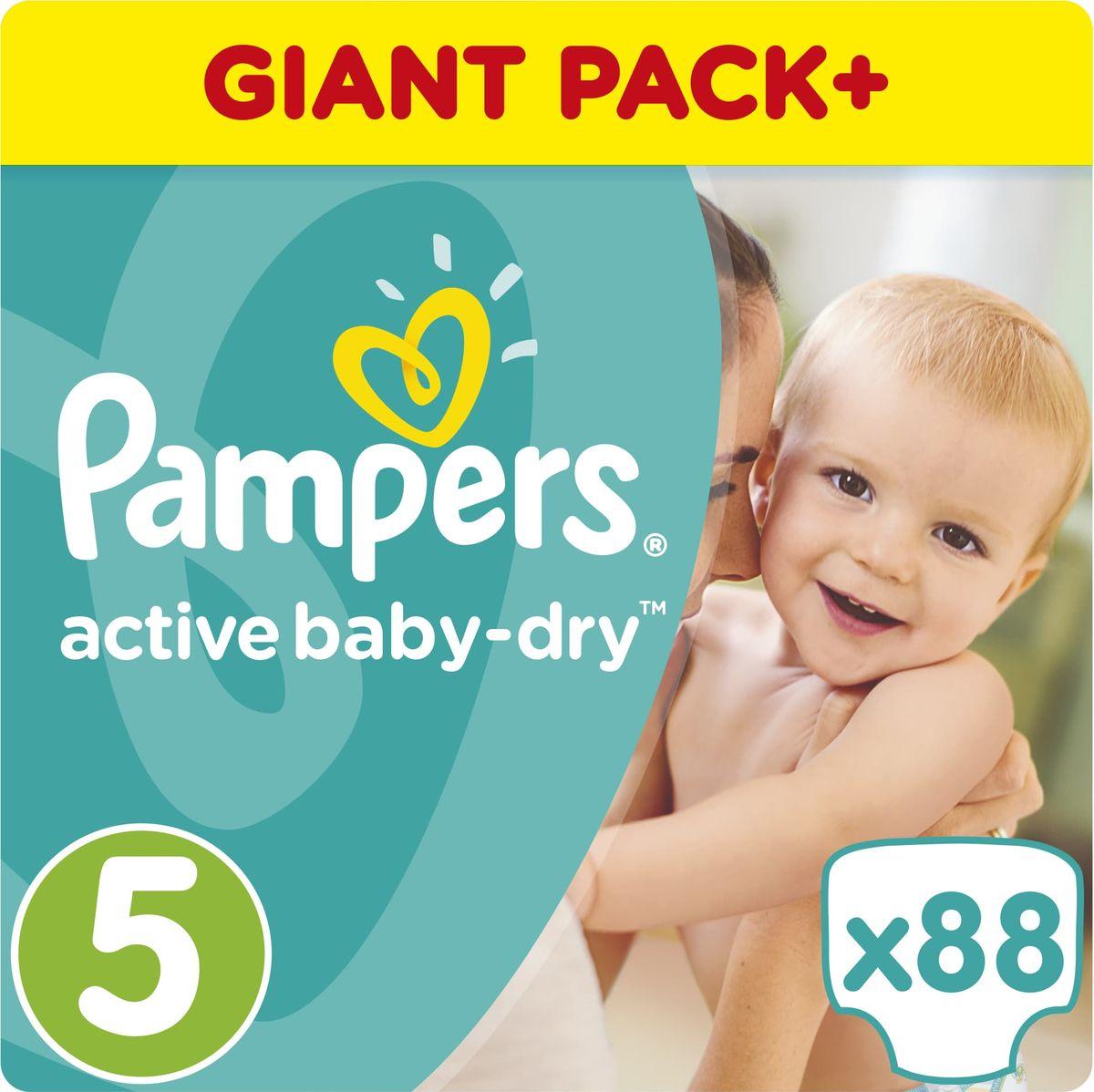 Pampers Подгузники Active Baby-Dry 11-23 кг (размер 5) 88 шт - Подгузники и пеленки