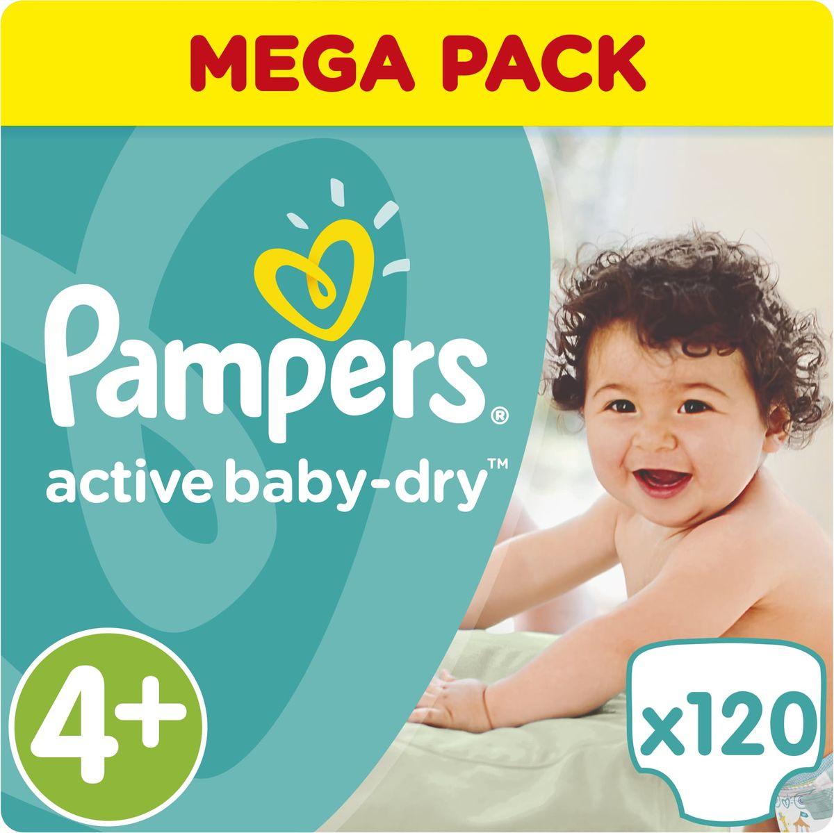 Pampers Подгузники Active Baby-Dry 9-18 кг (размер 4+) 120 шт - Подгузники и пеленки