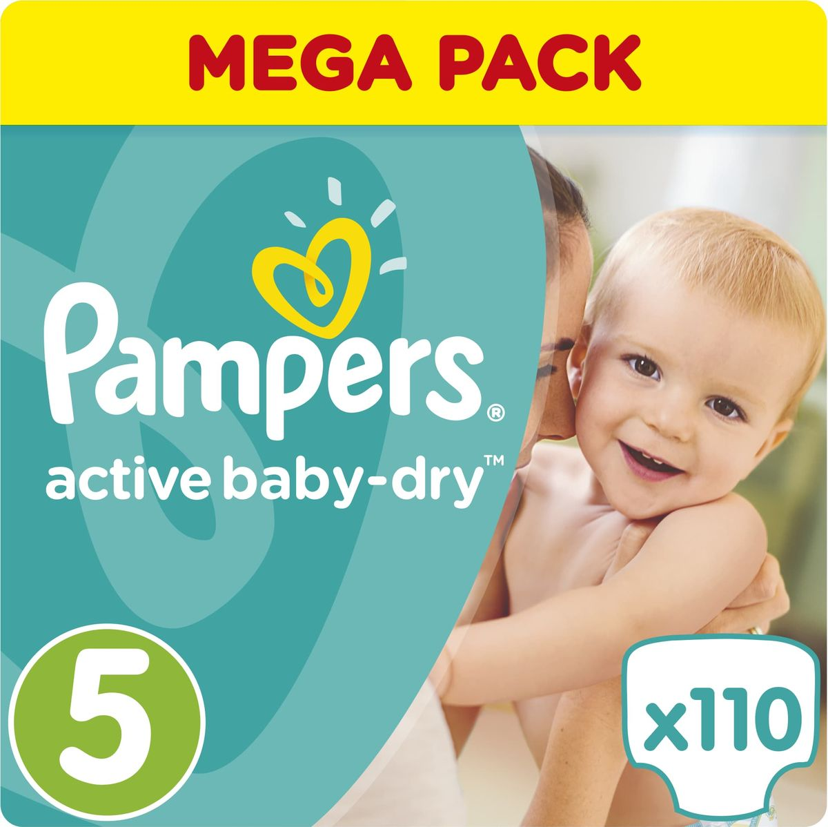 Pampers Подгузники Active Baby-Dry 11-23 кг (размер 5) 110 шт подгузники pampers active baby dry размер 4 7 14 кг 132 шт