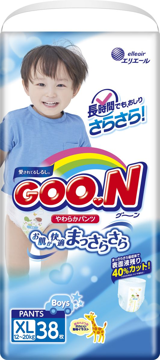 GOON Подгузники-трусики для мальчиков XL, 12-20 кг, 38 шт