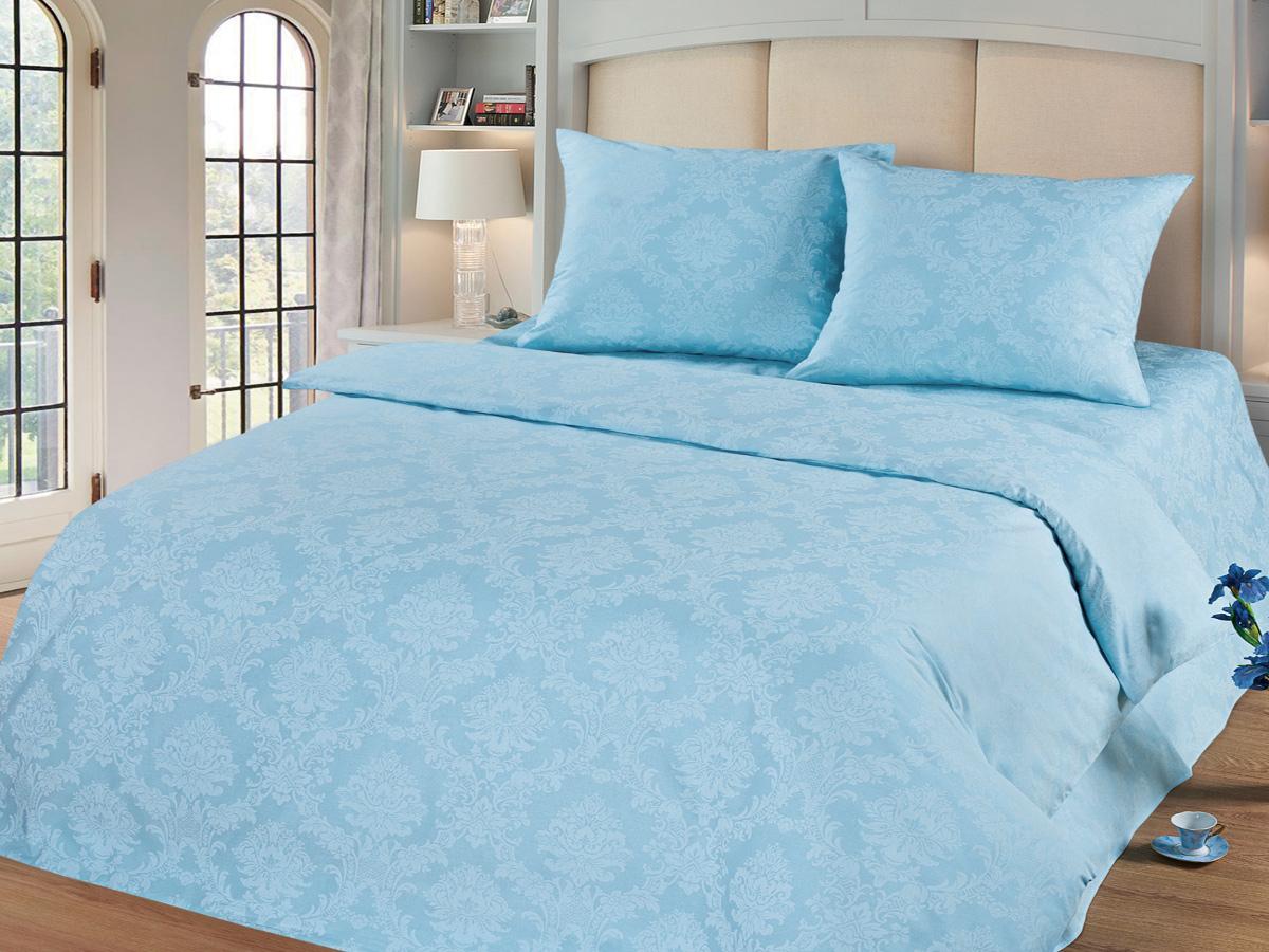 Комплект белья Cleo Аквамарин, 1,5-спальный, наволочки 70х70, цвет: голубой комплект белья cleo аквамарин 1 5 спальный наволочки 70х70 цвет голубой