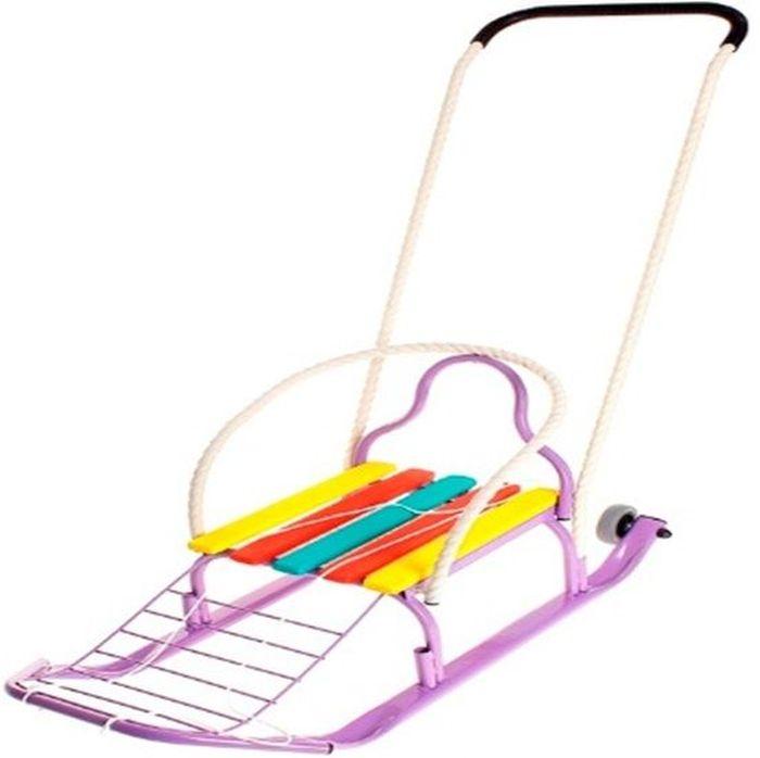 ТД Усть-Люга Санки Кирюша-4К цвет фиолетовый86234Длинная база, сиденье с продольными рейками+подножка, трубчатая съемная спинка, буксировочная веревка, широкий плоскоовальный полоз 30 х 15 мм., съемно-переставляемый толкатель, колеса обрезиненные съемные диаметром 75 мм.