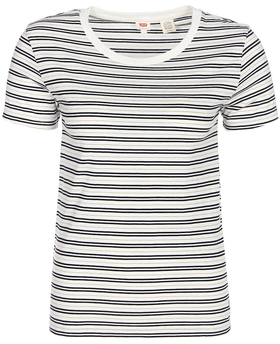 Футболка женская Levis®, цвет: белый. 1945900070. Размер XS (42)1945900070Незаменимая футболка на каждый день украшена стильными золотистыми полосками.