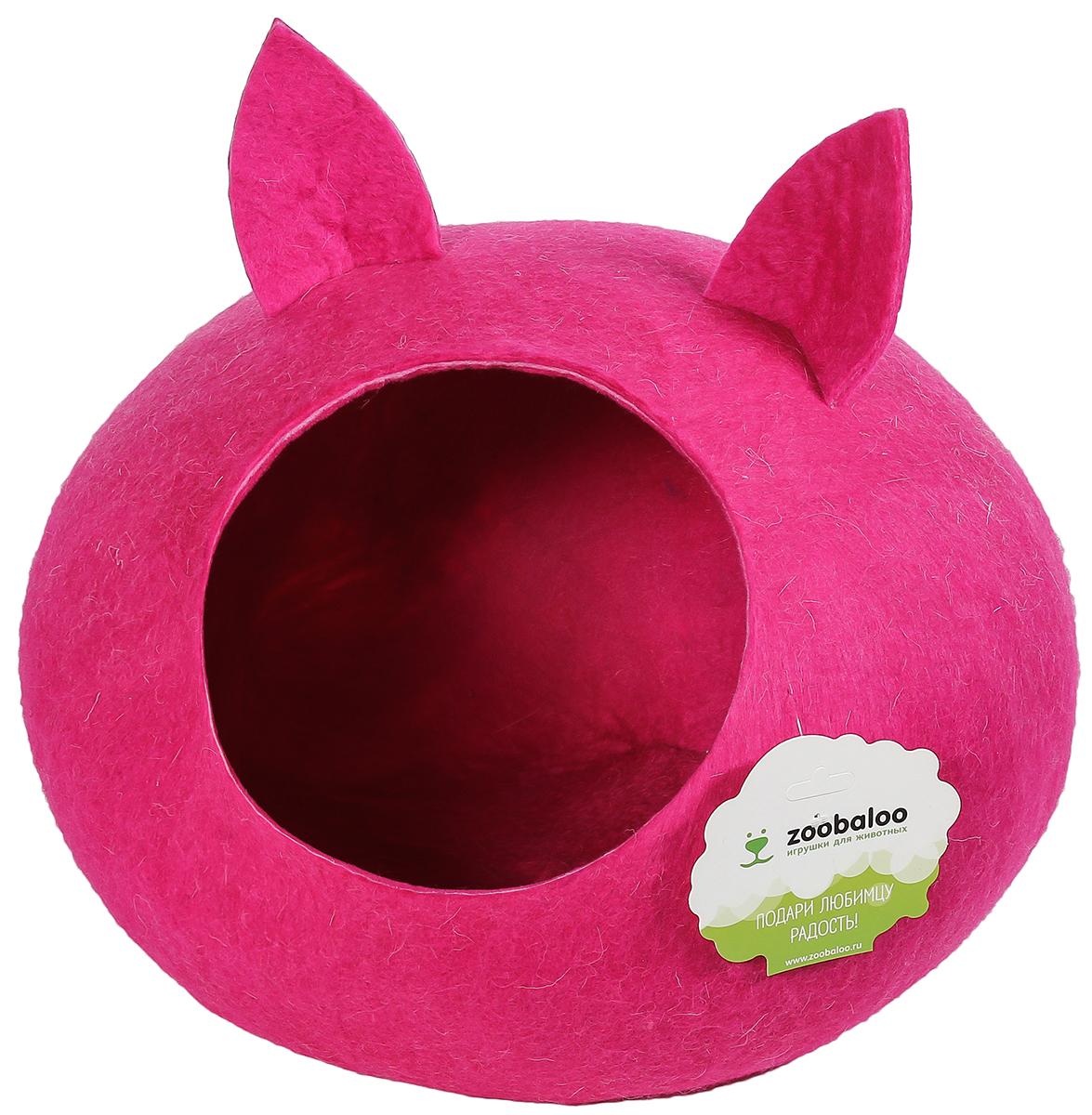 Домик-слипер для животных Zoobaloo WoolPetHouse, с ушками, цвет: малиновый, размер М895Домик-слипер Zoobaloo WoolPetHouse предназначен для отдыха и сна питомца. Домик изготовлен из 100% шерсти мериноса. Шерсть мериноса обеспечит превосходный микроклимат внутри домика, а его форма позволит питомцу засыпать в самой естественной позе.