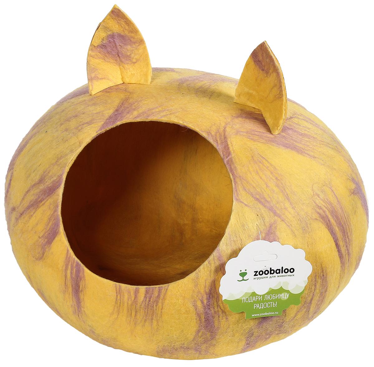 Домик-слипер для животных Zoobaloo WoolPetHouse, с ушками, цвет: мультиколор, желтый, размер М домики для животных zoobaloo домик для грызунов