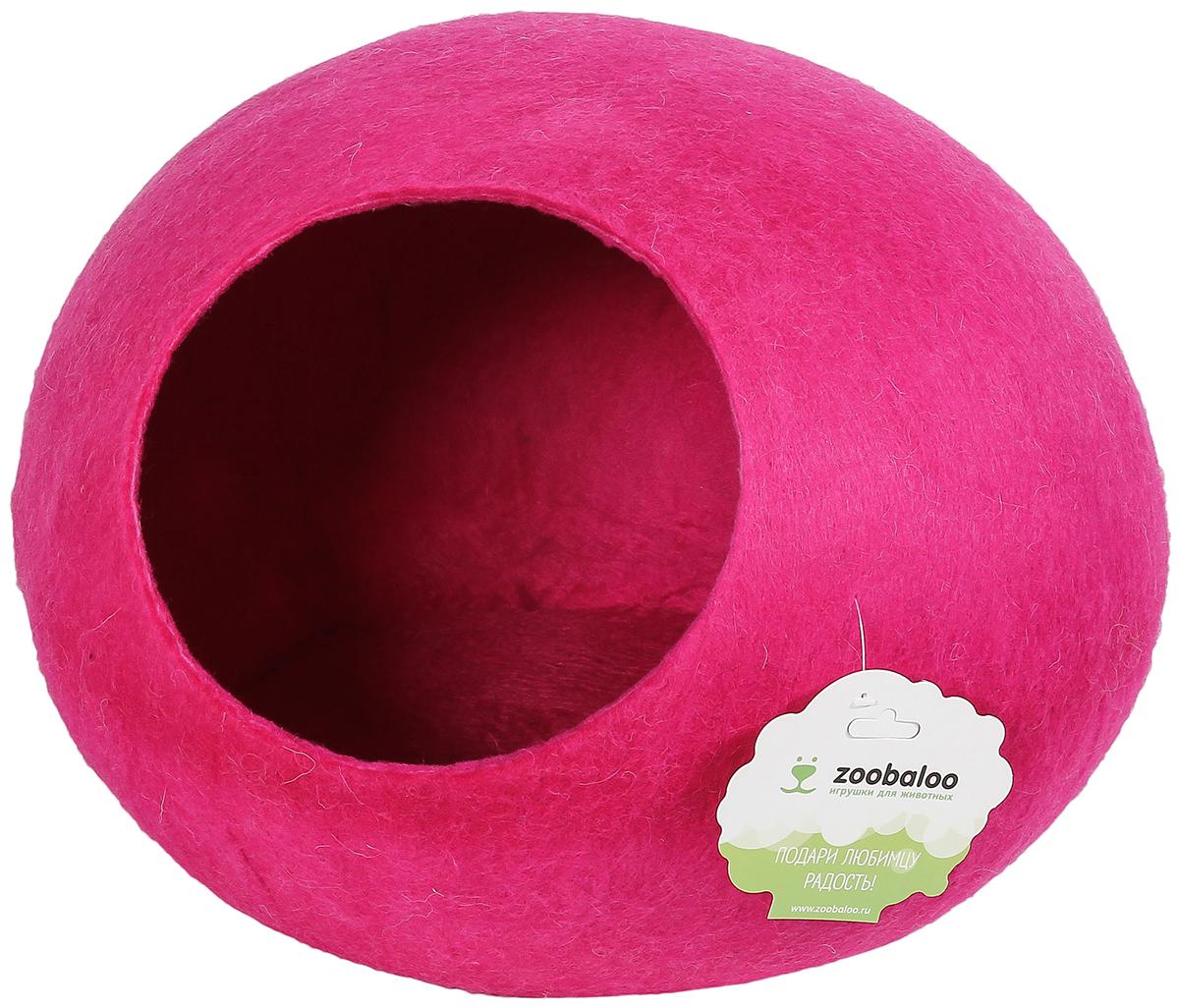 Домик-слипер для животных Zoobaloo WoolPetHouse, цвет: малиновый, размер M