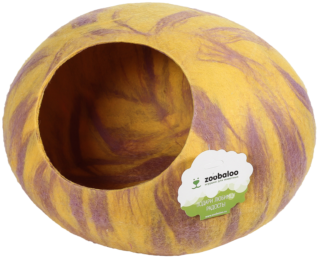 Домик-слипер для животных Zoobaloo WoolPetHouse, цвет: серый, желтый, размер М домик слипер для животных zoobaloo woolpethouse с ушками цвет оранжевый размер m