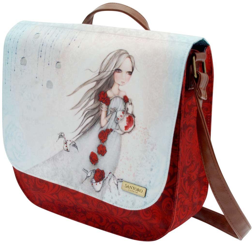 Santoro London Сумка школьная Rose Tea0013286Стильная и утонченная сумочка для выходов в свет!Закрывается на магнитную копку, внутри находится дополнительное отделение на молнии.Сумка выполнена вручную.