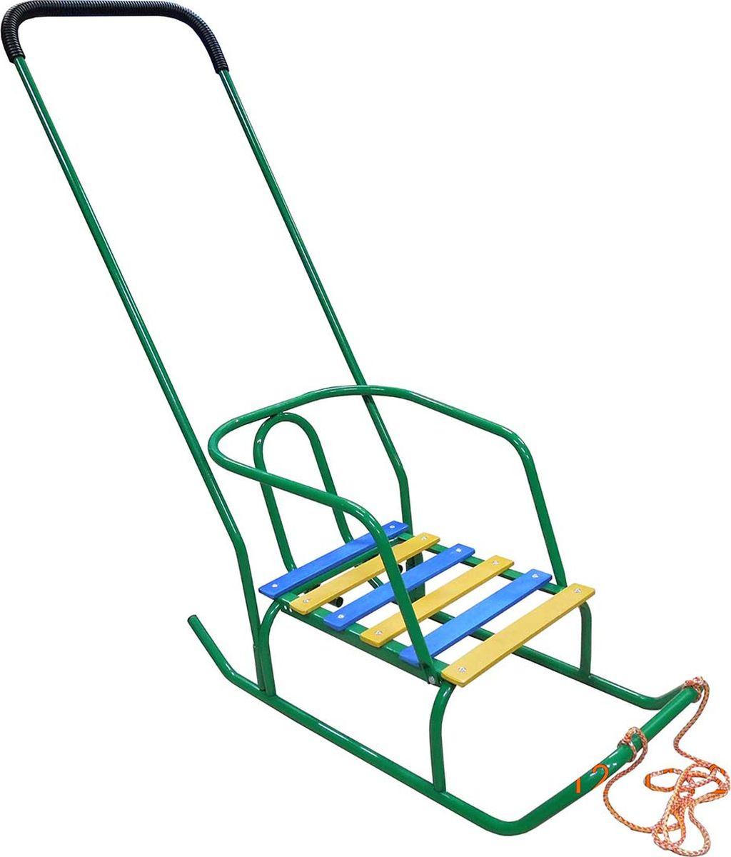Санки детские Эх, Прокачу! Арктика-1 со спинкой и ручкой, цвет: зеленый, 75 x 35 x 93 смСА-1ЗСанки детские Эх, Прокачу! Арктика-1 - качественный бюджетный вариант детских санок для детей до 5 лет. Съемная спинка и переустанавливаемая в двух положениях ручка-толкатель изготовлены изцельнометаллической рамы из трубы (толщина трубы 18 мм). Реечное сиденье выполнено из толстой обработанной фанеры. Ручка-толкатель расположена за спиной малыша, однако в случае необходимости вы легко сможете переставить ее наоборот и, прогуливаясь, вести приятную беседу со своим ребенком.Особенности:ВеревкаРучка-толкатель с обеих сторонПорошковая окраска и предокрасочная обработка.Нагрузка до 50 кг. Вес санок не более 3,6 кг.