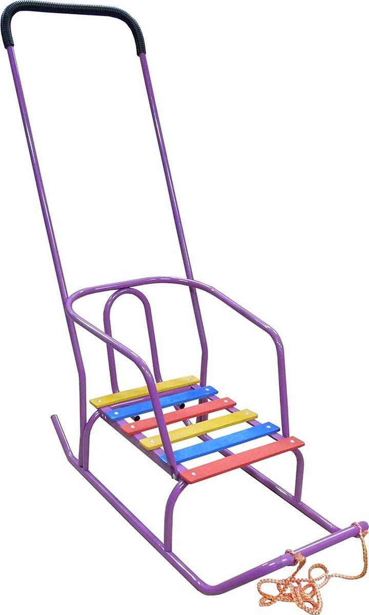 Санки детские Эх, Прокачу! Арктика-1, со спинкой и ручкой, цвет: фиолетовый, 75 x 35 x 93 смСА-1ФСанки детские Эх, Прокачу! Арктика-1 - качественный бюджетный вариант детских санок для детей до 5 лет. Съемная спинка и переустанавливаемая в двух положениях ручка-толкатель изготовлены из цельнометаллической рамы (труба толщиной 18 мм). Реечное сиденье выполнено из толстой обработанной фанеры. Ручка-толкатель расположена за спиной малыша, однако в случае необходимости вы легко сможете переставить ее наоборот и, прогуливаясь, вести приятную беседу со своим ребенком.Особенности:ВеревкаРучка-толкатель с обеих сторонПорошковая окраска и предокрасочная обработка. Нагрузка до 50 кг. Вес санок не более 3,6 кг.