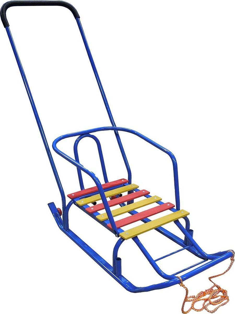 """Санки детские Эх, Прокачу! """"Лидер-1"""", с колесиками, цвет: синий, 75 x 35 x 93 см"""