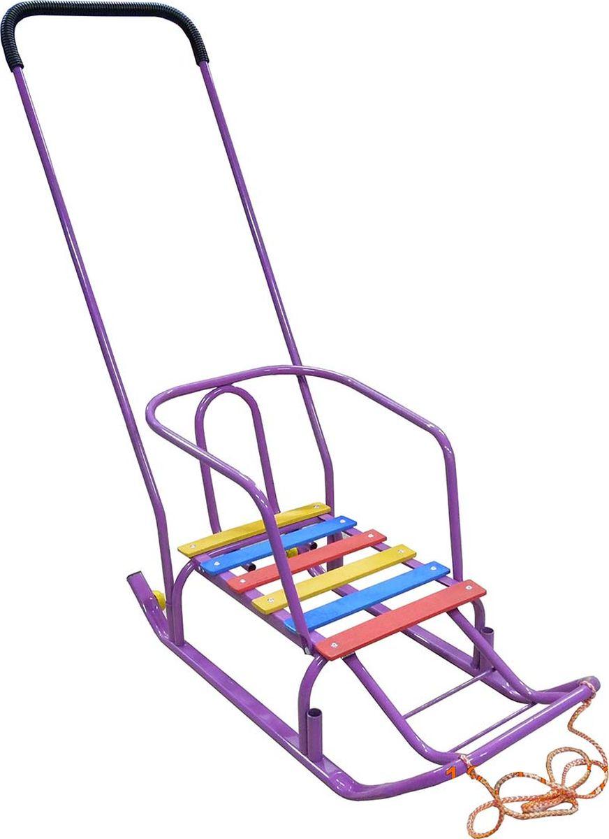 """Санки детские Эх, Прокачу! """"Лидер-1"""", с колесиками, цвет: фиолетовый, 75 x 35 x 93 см"""