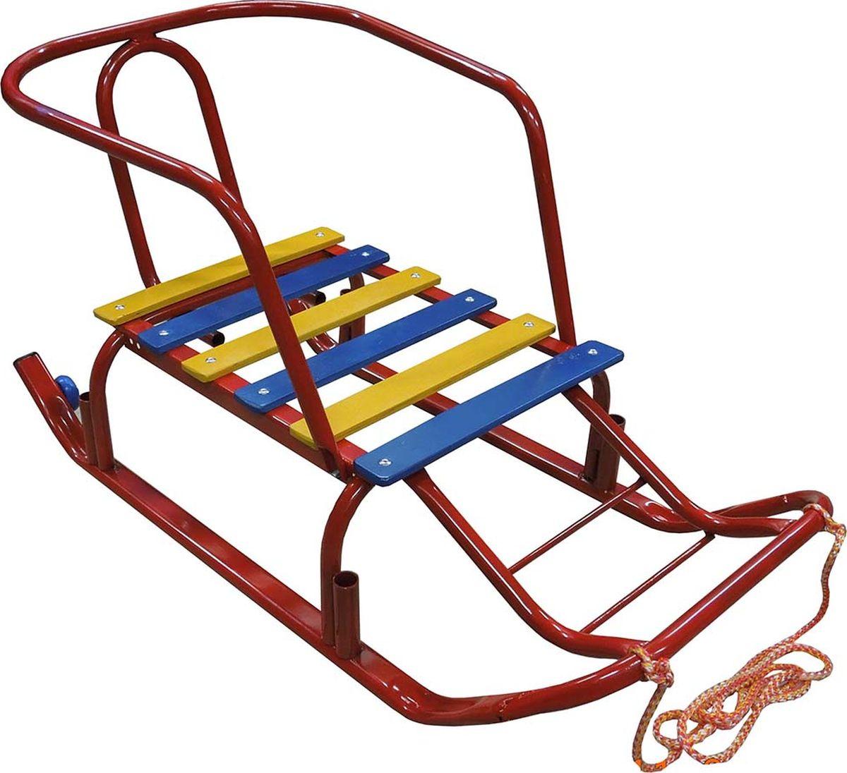 """Санки детские Эх, Прокачу! """"Лидер-2"""", с колесиками, цвет: красный, 75 x 35 x 40 см"""