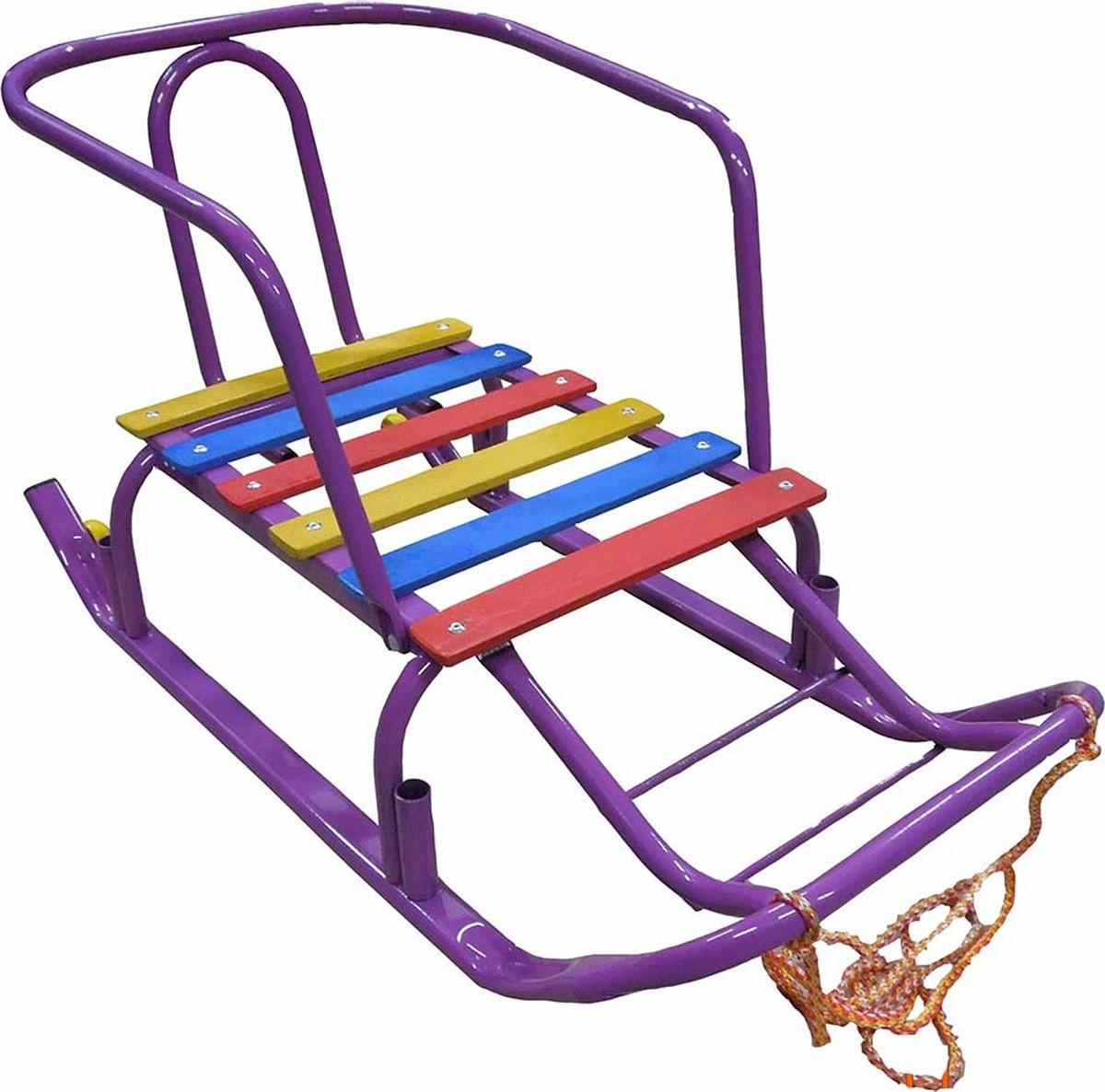 """Санки детские Эх, Прокачу! """"Лидер-2"""", с колесиками, цвет: фиолетовый, 75 x 35 x 40 см"""